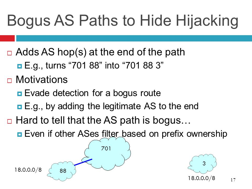 Bogus AS Paths to Hide Hijacking