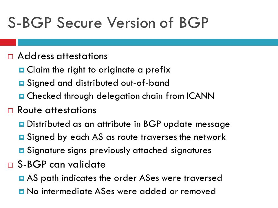 S-BGP Secure Version of BGP