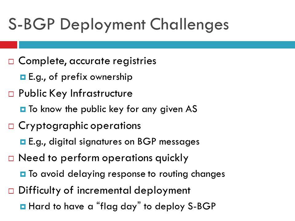 S-BGP Deployment Challenges