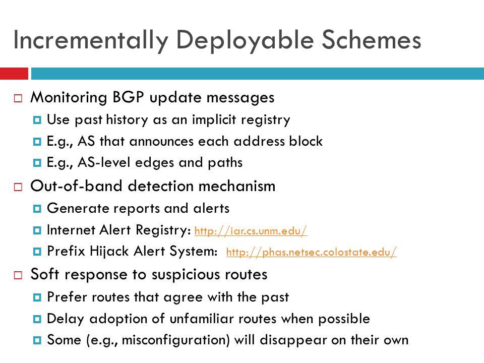 Incrementally Deployable Schemes