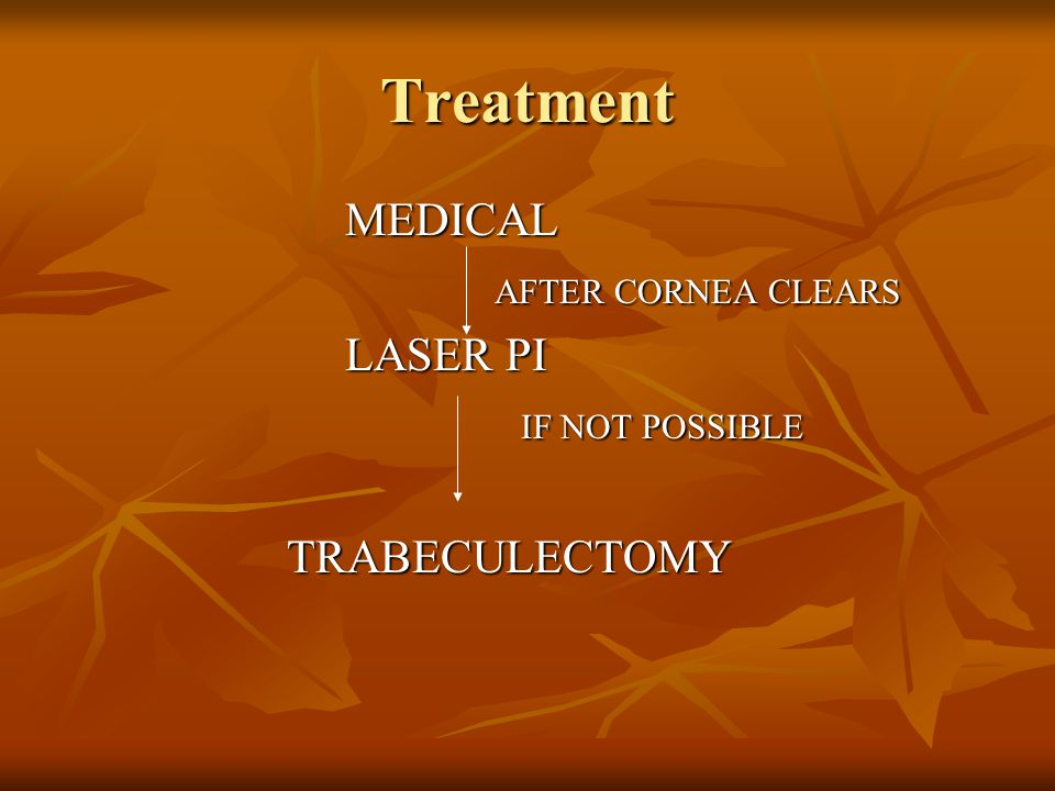 Treatment MEDICAL LASER PI IF NOT POSSIBLE TRABECULECTOMY