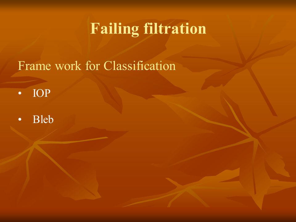 Failing filtration Frame work for Classification IOP Bleb