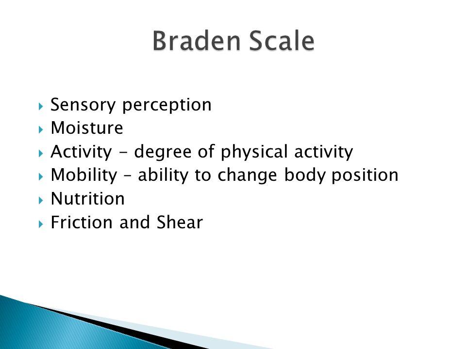 Braden Scale Sensory perception Moisture