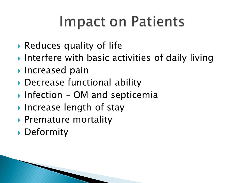 Impact on Patients Reduces quality of life