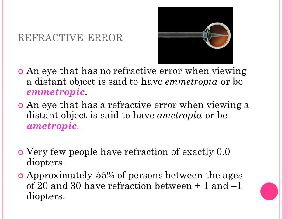 refractive error An eye that has no refractive error when viewing a distant object is said to have emmetropia or be emmetropic.