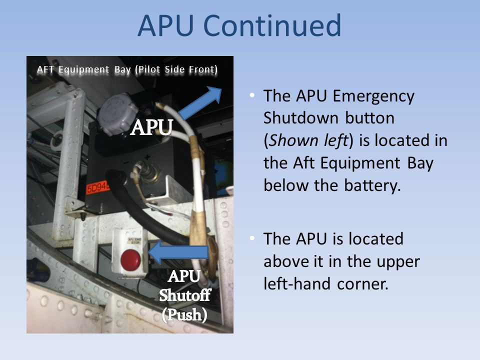APU Continued The APU Emergency Shutdown button (Shown left) is located in the Aft Equipment Bay below the battery.