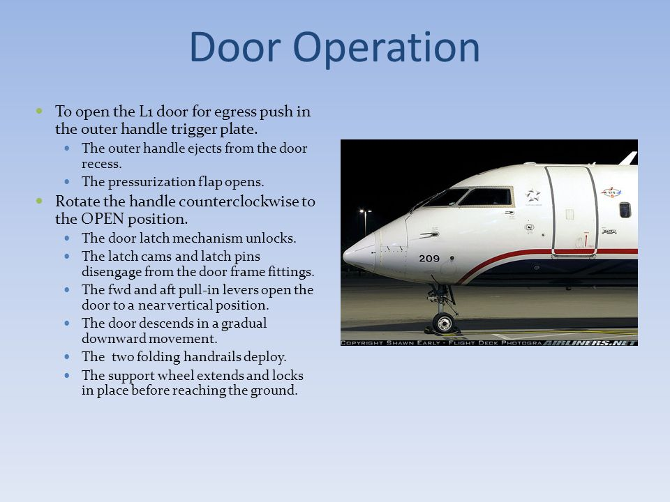 Door Operation To open the L1 door for egress push in the outer handle trigger plate. The outer handle ejects from the door recess.