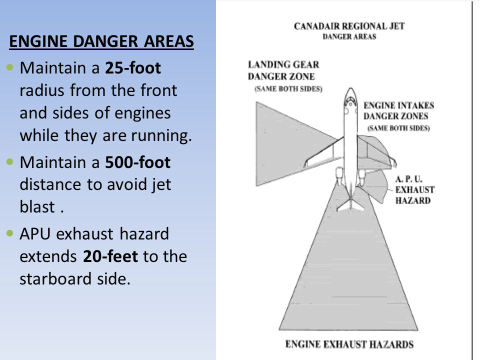ENGINE DANGER AREAS Maintain a 25-foot radius from the front and sides of engines while they are running.