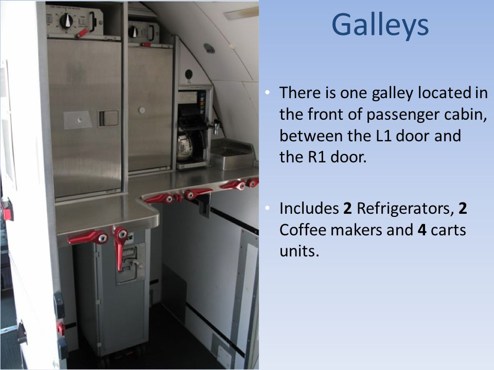 Galleys There is one galley located in the front of passenger cabin, between the L1 door and the R1 door.