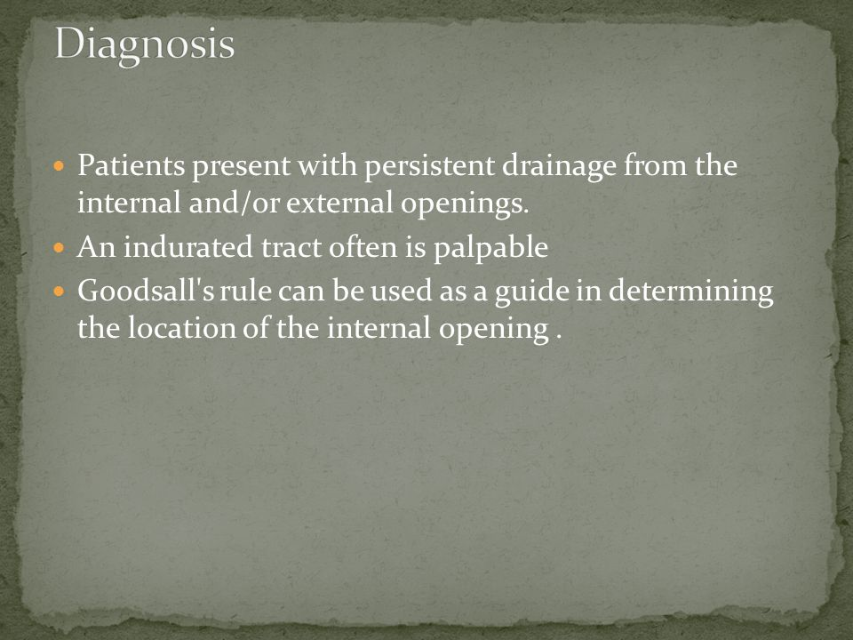 Diagnosis Patients present with persistent drainage from the internal and/or external openings. An indurated tract often is palpable.