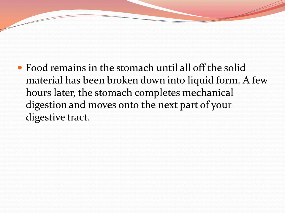Food remains in the stomach until all off the solid material has been broken down into liquid form.