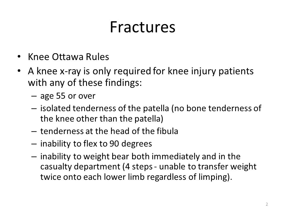 Fractures Knee Ottawa Rules