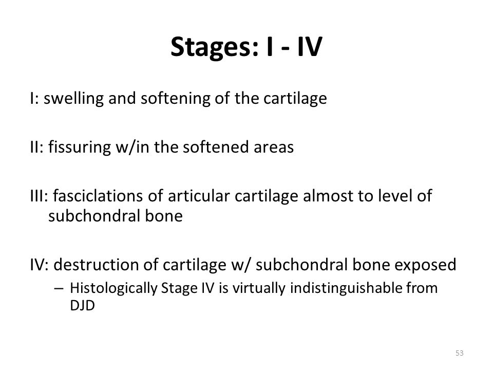 Stages: I - IV I: swelling and softening of the cartilage