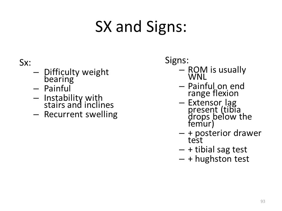 SX and Signs: Signs: Sx: ROM is usually WNL Difficulty weight bearing