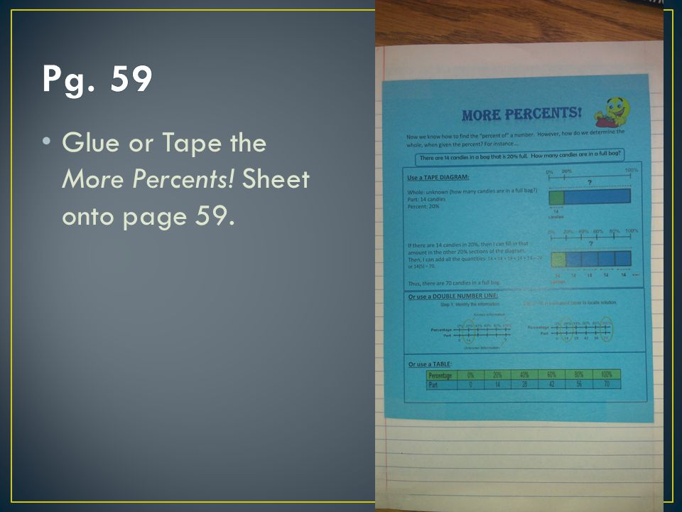 Pg. 59 Glue or Tape the More Percents! Sheet onto page 59.