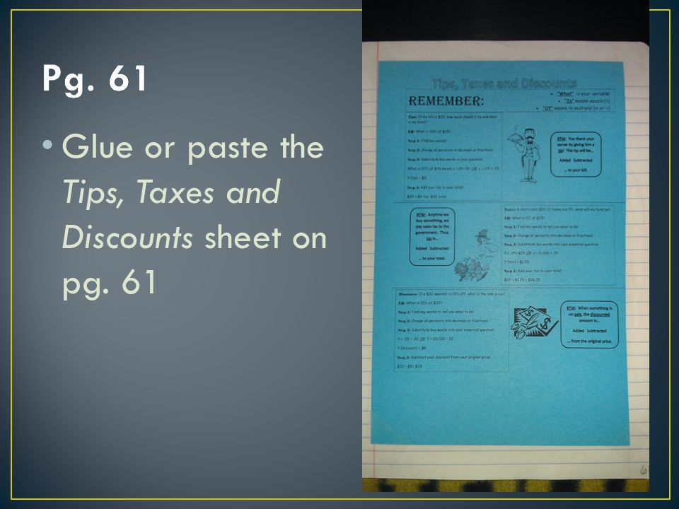 Pg. 61 Glue or paste the Tips, Taxes and Discounts sheet on pg. 61