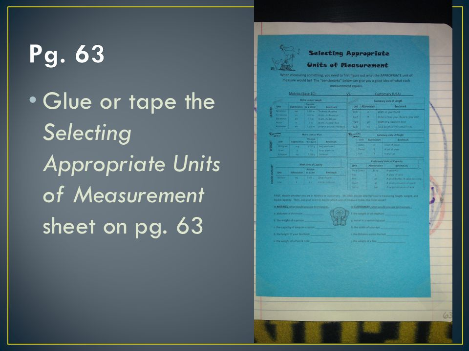Pg. 63 Glue or tape the Selecting Appropriate Units of Measurement sheet on pg. 63
