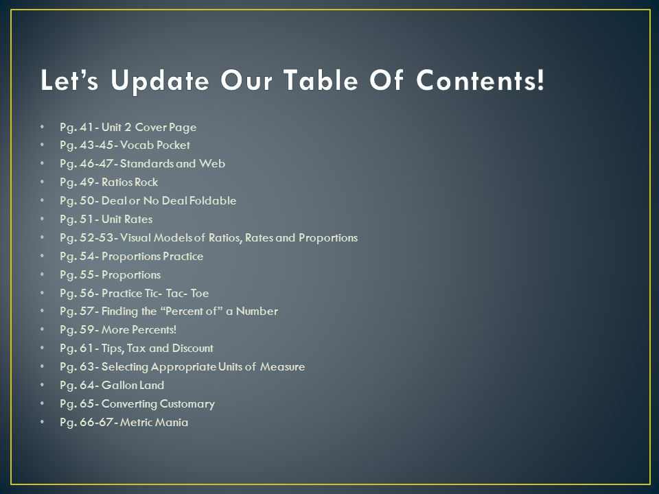 Let's Update Our Table Of Contents!