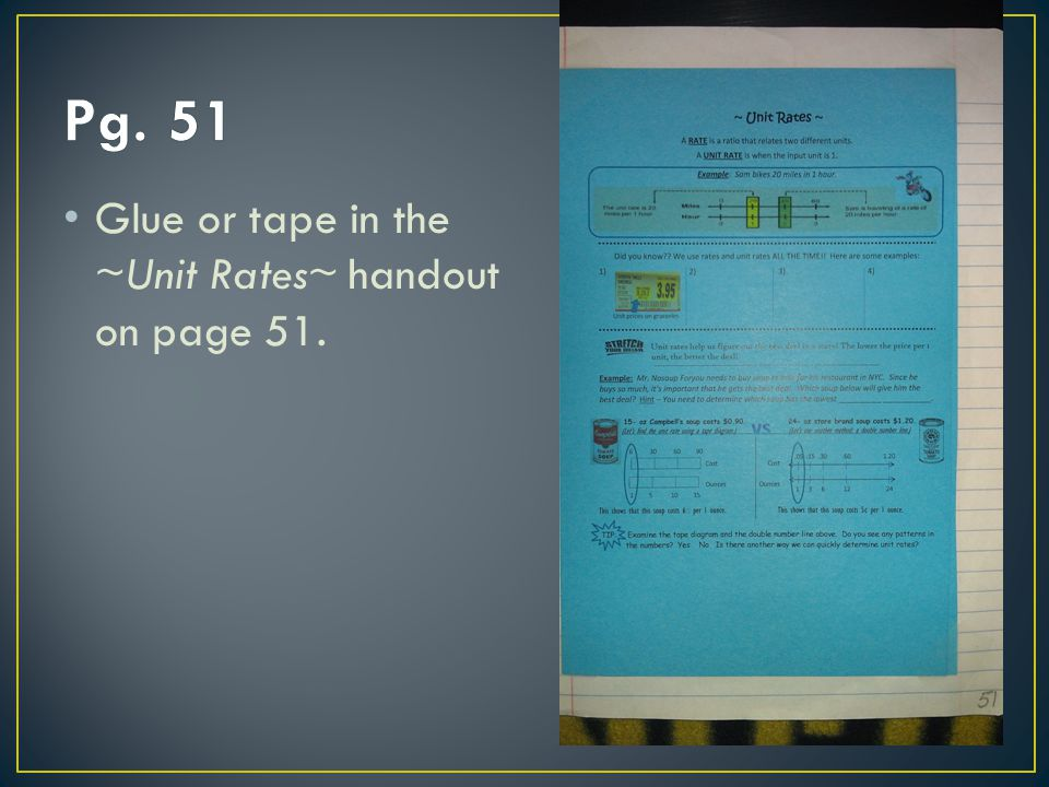 Pg. 51 Glue or tape in the ~Unit Rates~ handout on page 51.