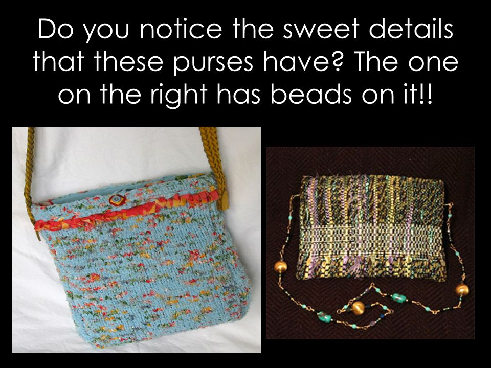 Do you notice the sweet details that these purses have