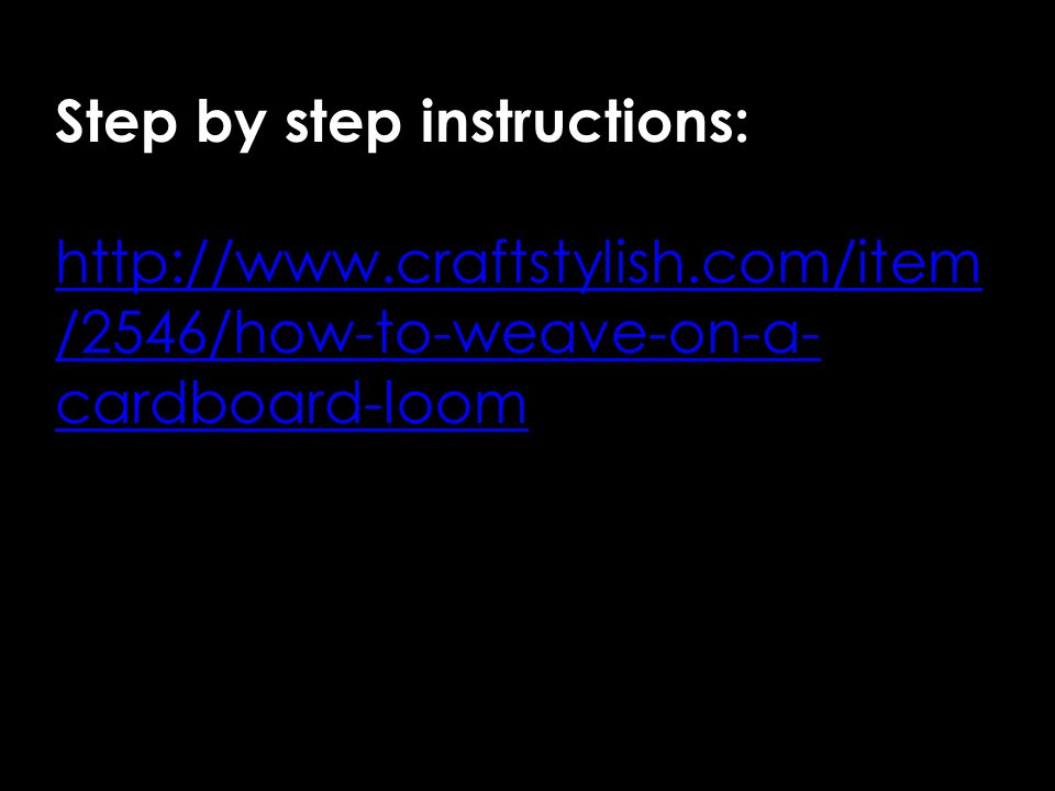Step by step instructions: