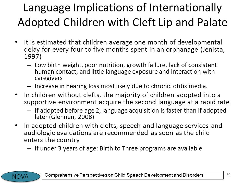 Language Implications of Internationally Adopted Children with Cleft Lip and Palate