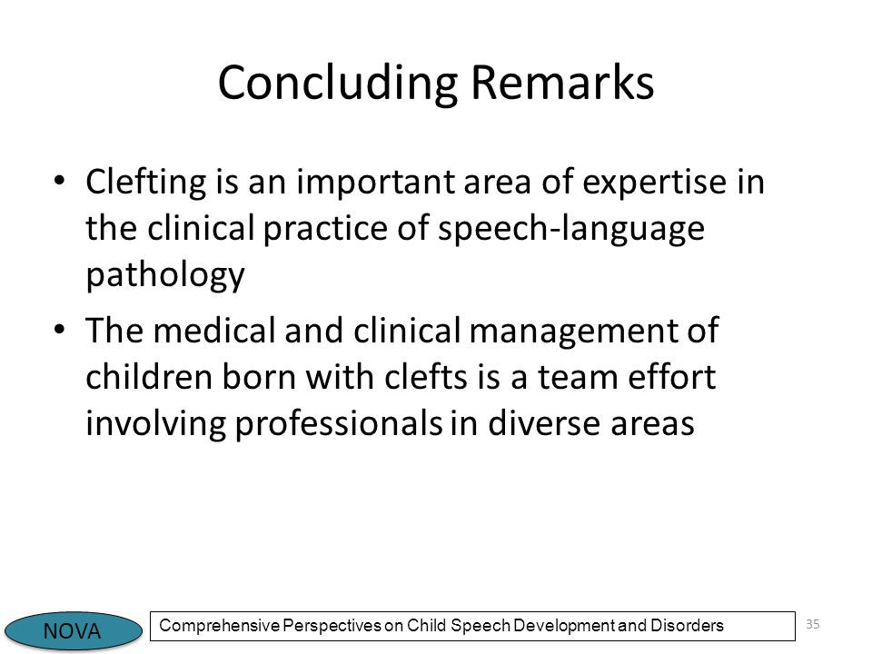 Concluding Remarks Clefting is an important area of expertise in the clinical practice of speech-language pathology.