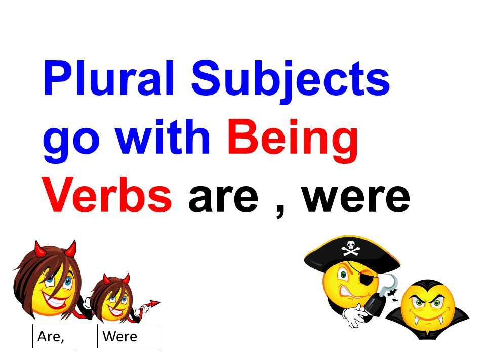 Plural Subjects go with Being Verbs are , were