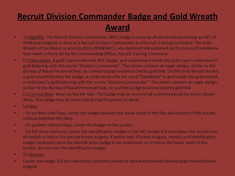 Recruit Division Commander Badge and Gold Wreath Award