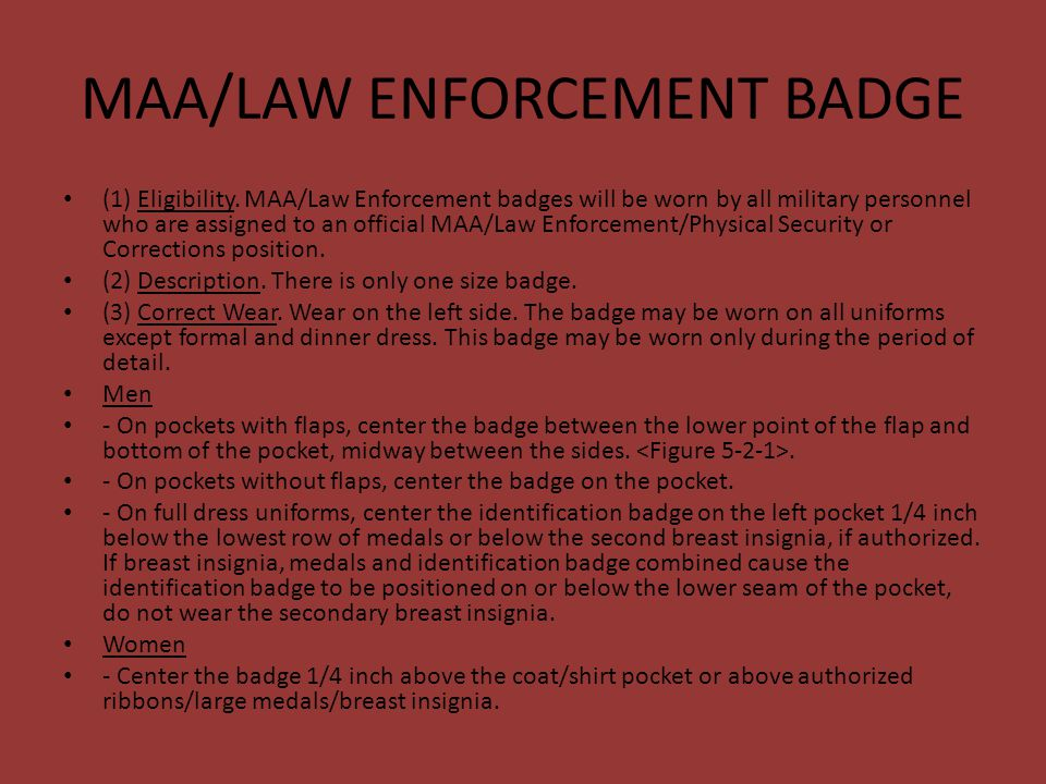 MAA/LAW ENFORCEMENT BADGE