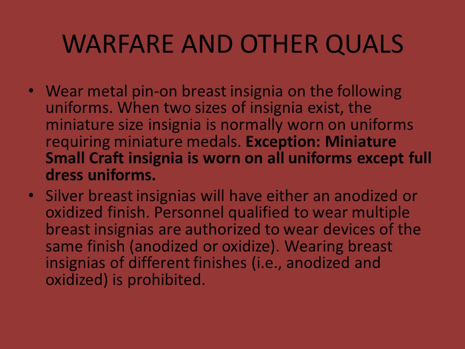 WARFARE AND OTHER QUALS