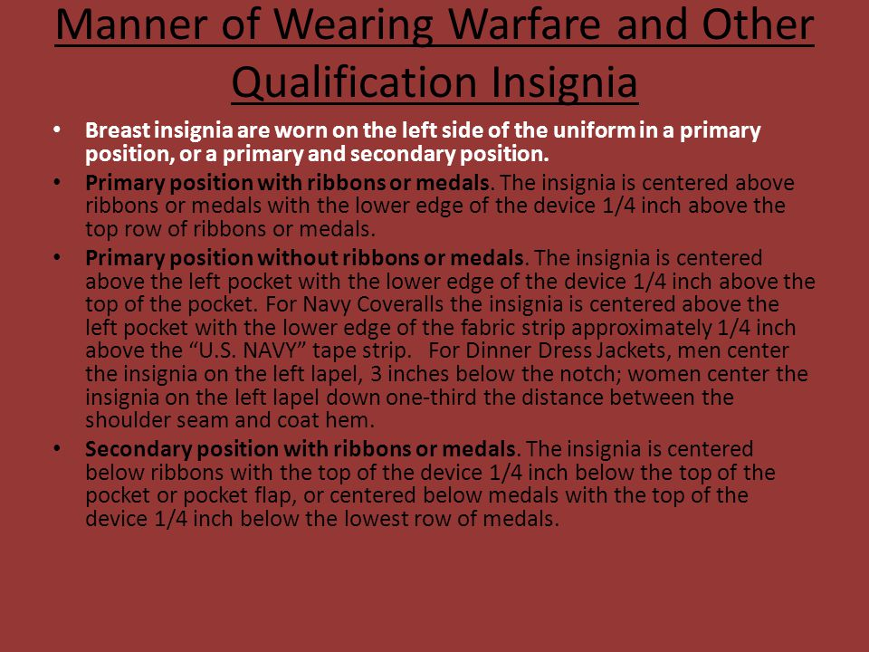 Manner of Wearing Warfare and Other Qualification Insignia