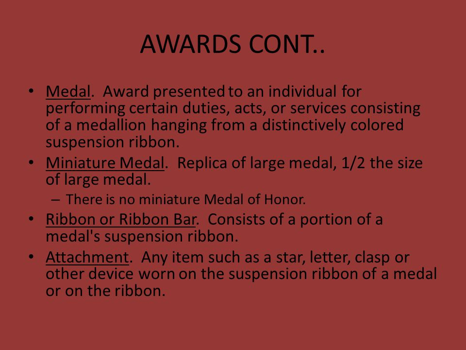 AWARDS CONT..