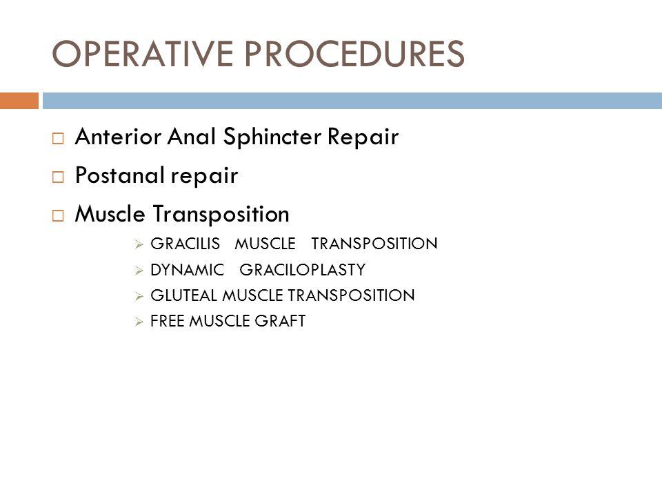 OPERATIVE PROCEDURES Anterior Anal Sphincter Repair Postanal repair
