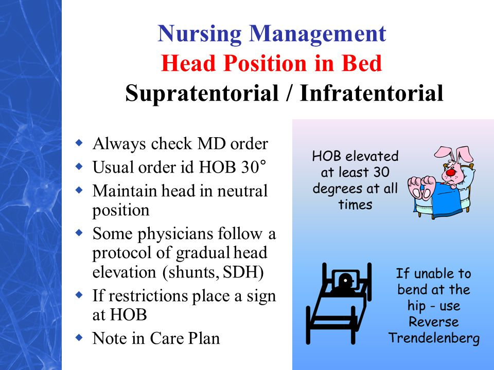 Nursing Management Head Position in Bed Supratentorial / Infratentorial