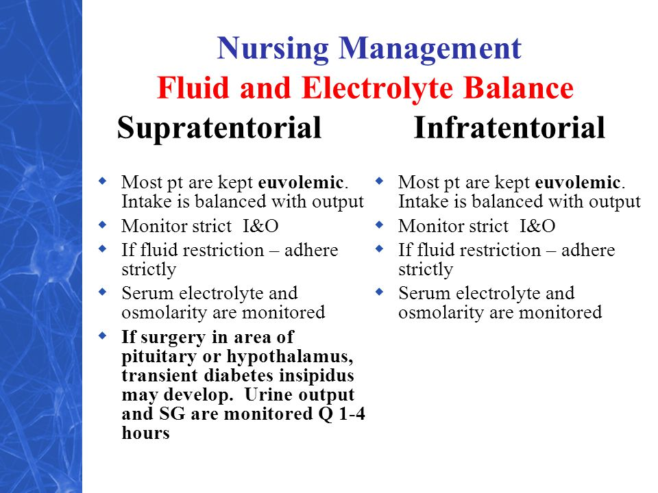 Nursing Management Fluid and Electrolyte Balance Supratentorial Infratentorial