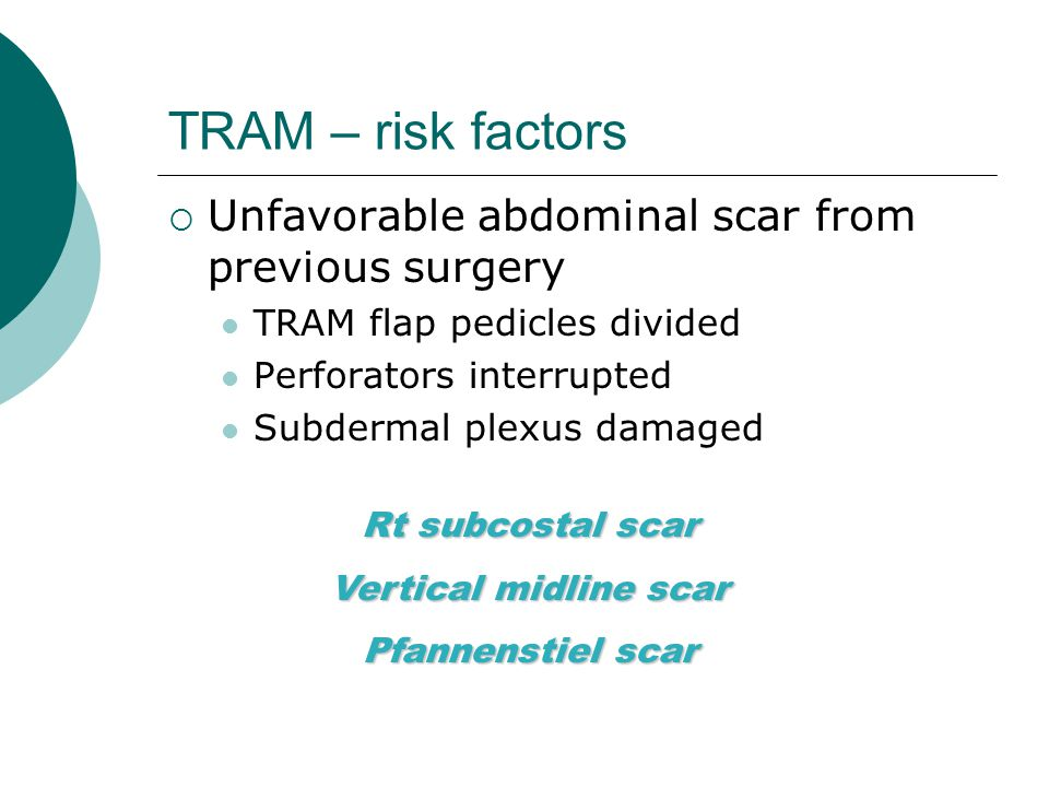 TRAM – risk factors Unfavorable abdominal scar from previous surgery