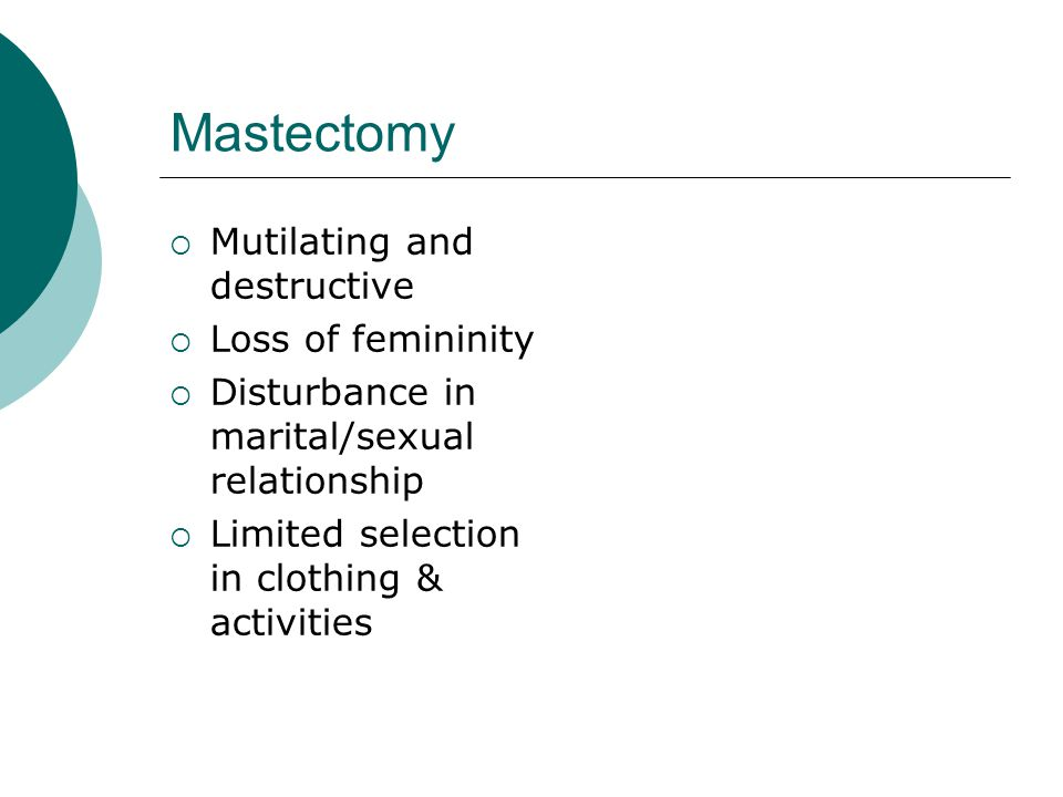 Mastectomy Mutilating and destructive Loss of femininity