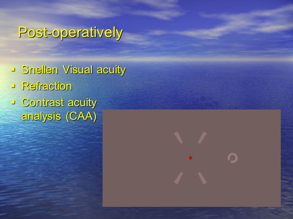 Post-operatively Snellen Visual acuity Refraction