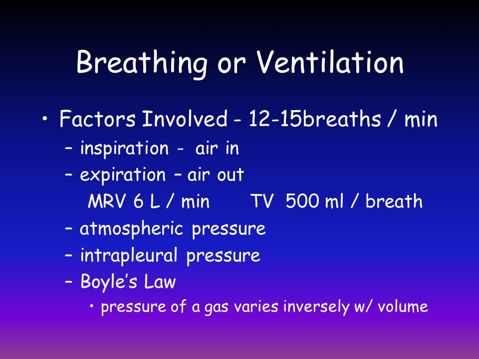Breathing or Ventilation