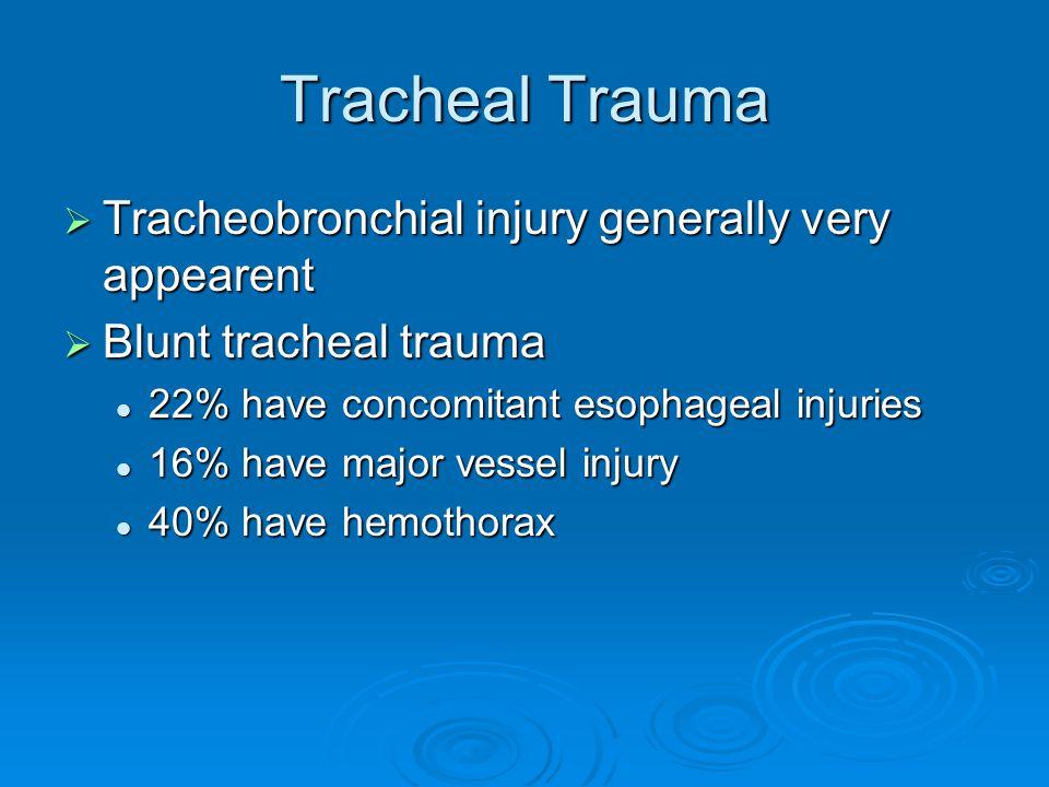Tracheal Trauma Tracheobronchial injury generally very appearent