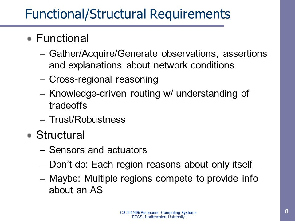 Functional/Structural Requirements