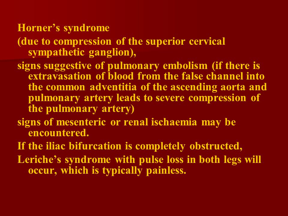 Horner's syndrome (due to compression of the superior cervical sympathetic ganglion),