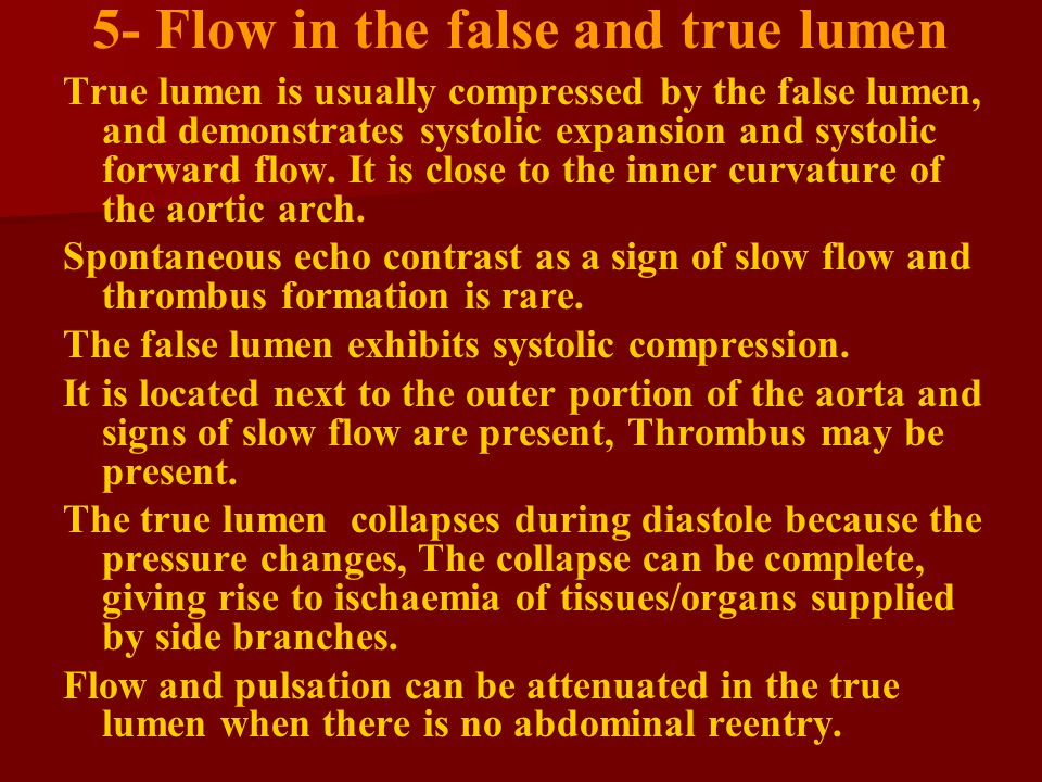 5- Flow in the false and true lumen