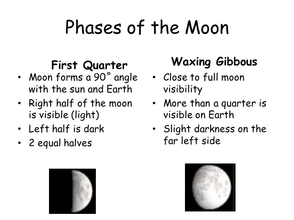 Phases of the Moon Waxing Gibbous First Quarter