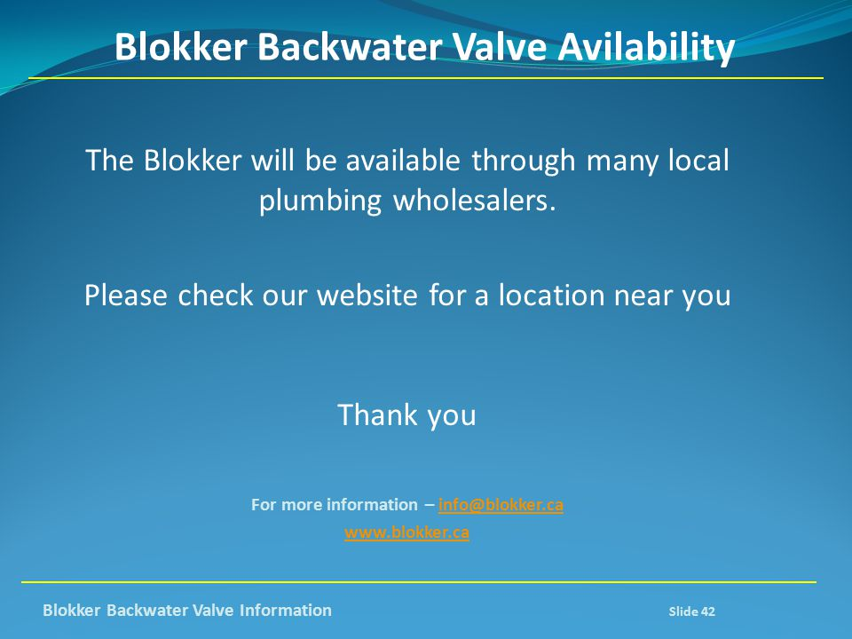 Blokker Backwater Valve Avilability