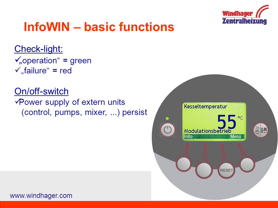 InfoWIN – basic functions