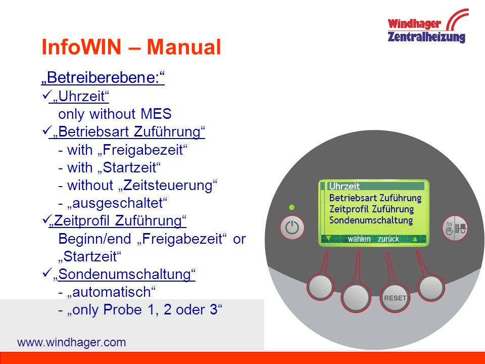 "InfoWIN – Manual ""Betreiberebene: ""Uhrzeit only without MES"