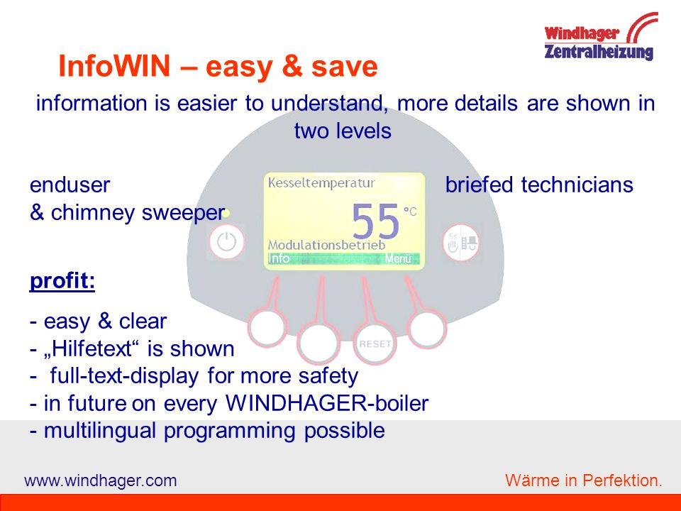 InfoWIN – easy & save enduser briefed technicians & chimney sweeper