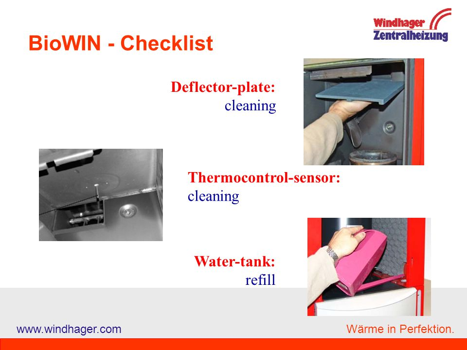BioWIN - Checklist Deflector-plate: cleaning Thermocontrol-sensor: